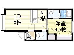 北海道札幌市北区北27条西12丁目の賃貸アパートの間取り