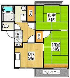 大阪府堺市東区日置荘西町5丁丁目の賃貸アパートの間取り