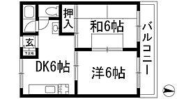 兵庫県宝塚市逆瀬川2丁目の賃貸マンションの間取り