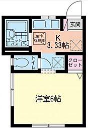 神奈川県川崎市麻生区多摩美1丁目の賃貸アパートの間取り