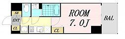プレサンス OSAKA DOMECITY クロスティ 4階1Kの間取り