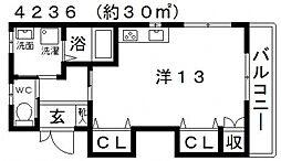 カームメゾン 1階ワンルームの間取り