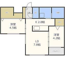 北海道札幌市東区北七条東3丁目の賃貸マンションの間取り