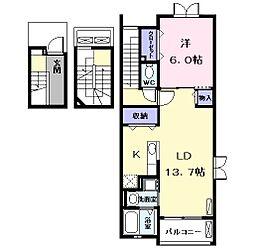 JR関西本線 蟹江駅 徒歩7分の賃貸アパート 3階1LDKの間取り