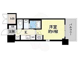 JR大阪環状線 今宮駅 徒歩6分の賃貸マンション 8階1Kの間取り