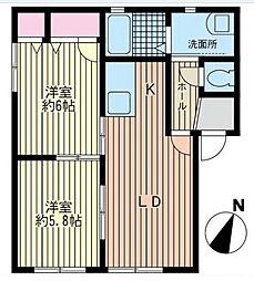 神奈川県座間市緑ケ丘5丁目の賃貸アパートの間取り