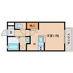 近鉄大阪線 大和八木駅 徒歩4分の賃貸アパート 1階ワンルームの間取り