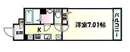 仙台市地下鉄東西線 宮城野通駅 徒歩4分の賃貸マンション 2階1Kの間取り