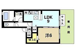 ラ・フロール青垣 1階1LDKの間取り