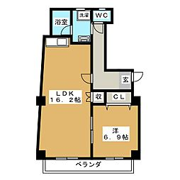 シャトレ東別院[5階]の間取り