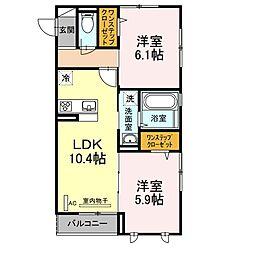 神奈川県川崎市川崎区殿町1丁目の賃貸アパートの間取り