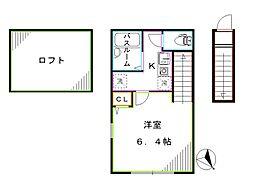 バーミープレイス西新宿 2階1Kの間取り