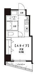 JR山手線 浜松町駅 徒歩8分の賃貸マンション 2階1Kの間取り