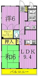 ローズガーデンAB(花野井)[2階]の間取り