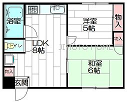山口ハイツ[1階]の間取り