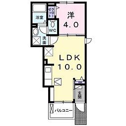 広島電鉄宮島線 楽々園駅 徒歩31分の賃貸アパート 1階1LDKの間取り