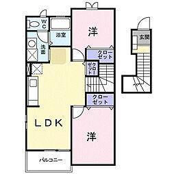 クラ−ルA[2階]の間取り