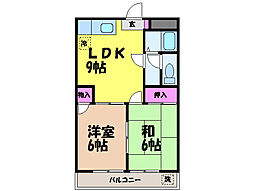 愛媛県松山市朝生田町5丁目の賃貸マンションの間取り