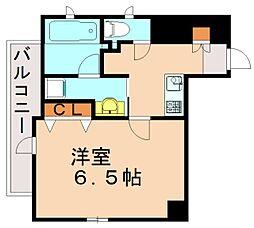 福岡市地下鉄七隈線 渡辺通駅 徒歩3分の賃貸マンション 5階1Kの間取り
