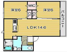 大阪府高槻市東五百住町1丁目の賃貸アパートの間取り