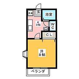 フラワーハイツII[1階]の間取り