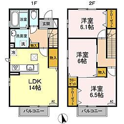 [テラスハウス] 徳島県徳島市山城町 の賃貸【/】の間取り
