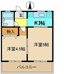 埼玉県さいたま市浦和区常盤9丁目の賃貸マンションの間取り