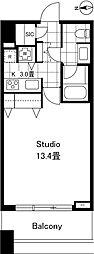 都営大江戸線 西新宿五丁目駅 徒歩5分の賃貸マンション 17階1Kの間取り
