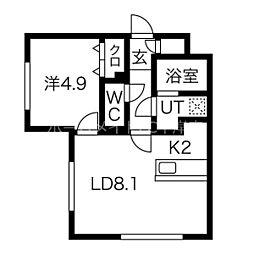 パインハート中の島  (仮)中の島1-2MS 2階1LDKの間取り