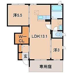 シャーメゾン新中島[1階]の間取り