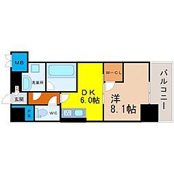 愛知県名古屋市中村区佐古前町の賃貸マンションの間取り