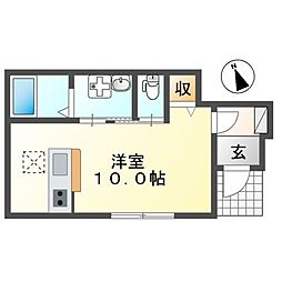 JR常磐線 取手駅 徒歩8分の賃貸アパート 1階ワンルームの間取り