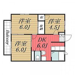 千葉県千葉市中央区椿森5丁目の賃貸アパートの間取り