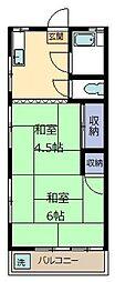第二根本荘[1-D号室]の間取り