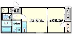 HR・FRONT・REGAL城北 1階1LDKの間取り