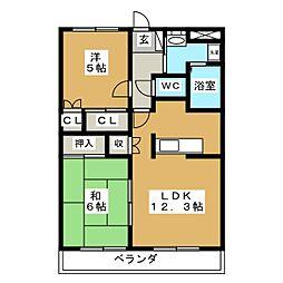 エクセレントハイツ 2号館[1階]の間取り