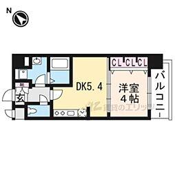 叡山電鉄叡山本線 一乗寺駅 徒歩5分の賃貸マンション 2階1DKの間取り