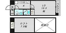 Wタワー江戸堀 10階1LDKの間取り
