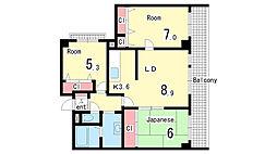 兵庫県神戸市須磨区南落合1丁目の賃貸マンションの間取り