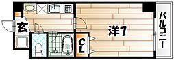 吉野町ワンルームマンション[2階]の間取り