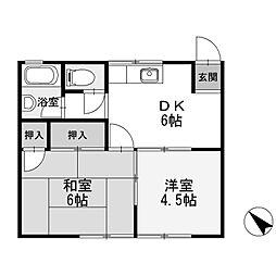 コーポみつべ[1階]の間取り