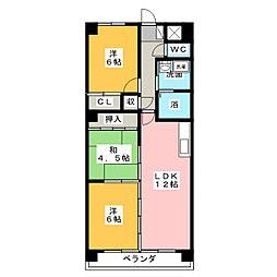 アビタシオン中平[3階]の間取り