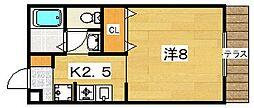 楠葉ビューハイツ[1階]の間取り