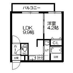 札幌市営東西線 西11丁目駅 徒歩14分の賃貸マンション 3階1LDKの間取り