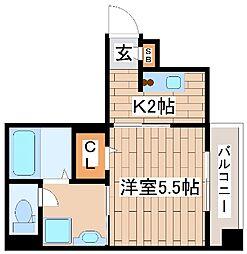神戸市海岸線 ハーバーランド駅 徒歩9分の賃貸マンション 8階1Kの間取り