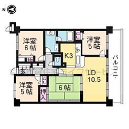 サンマンションアトレ西大路307号室[3階]の間取り