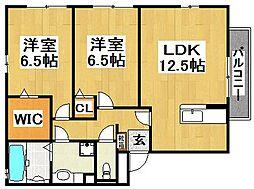 大阪府堺市中区深阪2丁の賃貸アパートの間取り