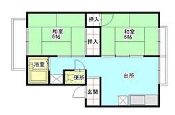 伊豆急行 伊豆熱川駅 徒歩7分の賃貸アパート 2階2DKの間取り
