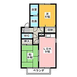 セジュール貫井[2階]の間取り