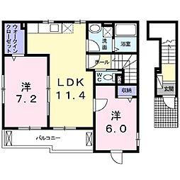 ルミエール六反地[2階]の間取り